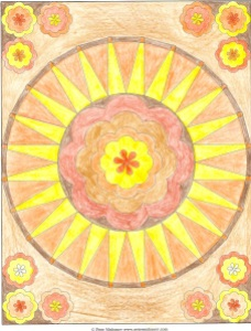 Mandala 9 colored with earth colors